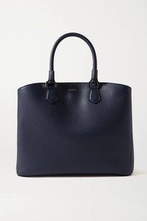 Luna Textured-leather Tote - Navy