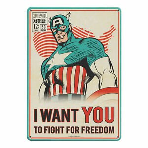 CAPTAIN AMERICA FIGHT FOR FREEDOM A5 SMALL STEEL SIGN MARVEL AVENGERS COMIC 5055453446436 | eBay