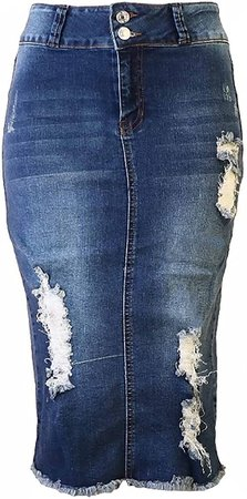 Womens Junior/Plus Size Below Knee Length Midi Pencil Ripped Denim Skirt Washed Blue at Amazon Women's Clothing store