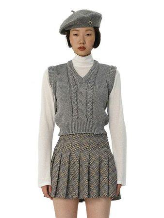 C Cable Cropped Knit Vest_Grey | W Concept