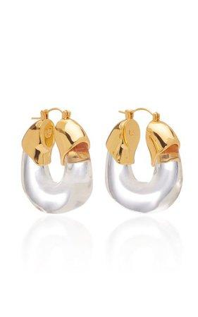 Clear Organic Acrylic Hoop Earrings By Lizzie Fortunato   Moda Operandi