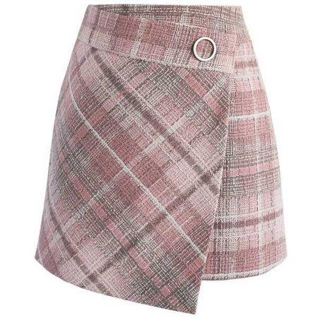 Chicwish Tender Tartan Tweed Flap Skirt in Pink