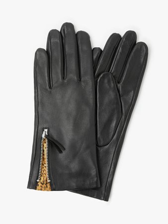 John Lewis & Partners Leopard Lined Leather Gloves at John Lewis & Partners