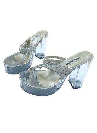 Y2K 90s Clear Heels Glitter Silver