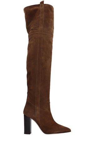 Paris Texas High Heels Boots In Brown Suede