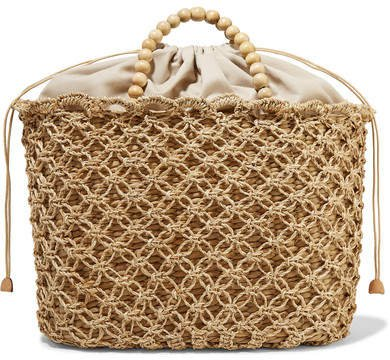 Net Sustain Pippa Woven Seagrass, Macramé And Beaded Tote - Beige
