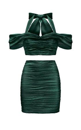 Draped Jacquard Top And Draped Jacquard Mini Skirt By Rasario | Moda Operandi