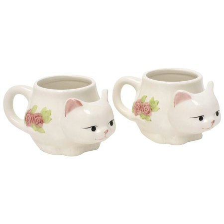 Set of 2 Hand Painted Figural Kitty Cat White Ceramic Mugs or Cups w/ : Kitsch & Couture | Ruby Lane