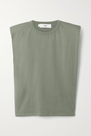 Army green Eva cotton-jersey tank | Frankie Shop | NET-A-PORTER