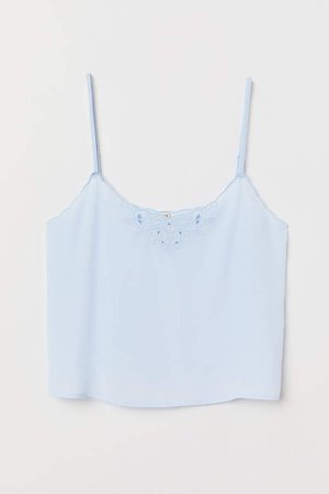Scallop-trimmed Camisole Top - Blue