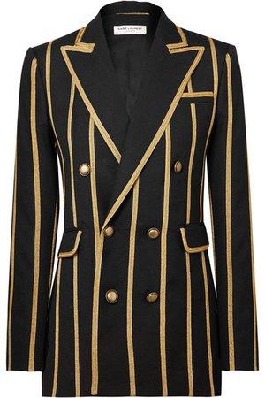 SAINT LAURENT | Metallic canvas-striped wool blazer | NET-A-PORTER.COM