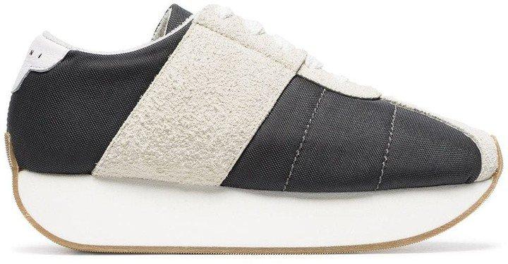 Suede Panel Flatform Sneakers