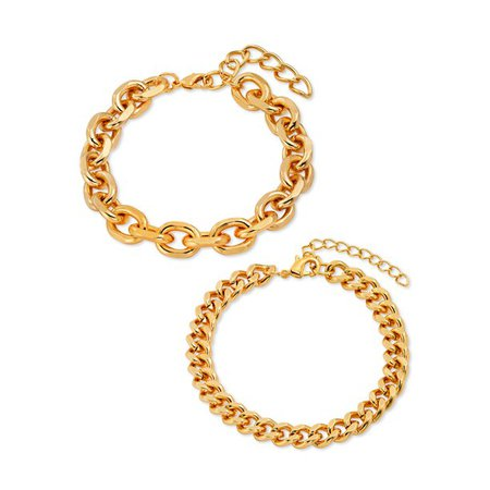Scoop - Scoop Brass Yellow Gold-Plated Oval Link and Curb Chain Bracelets, 2-Piece Set - Walmart.com - Walmart.com