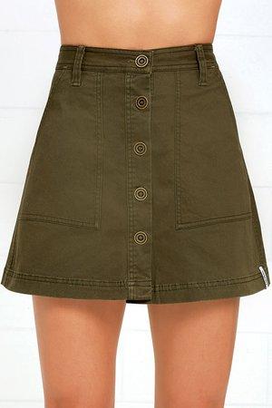 Rhythm Pacific Skirt - Olive Green Skirt - A-Line Skirt - $55.00