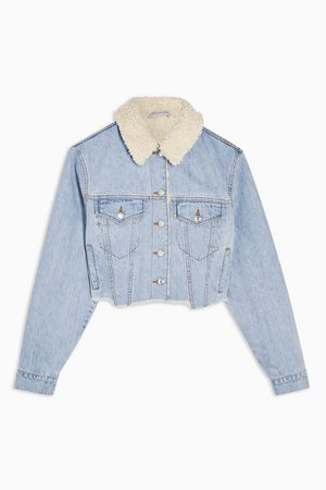 Borg Lined Hacked Off Denim Jacket | Topshop