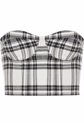 Strapless checked twill bustier top | ALICE + OLIVIA | Sale up to 70% off | THE OUTNET