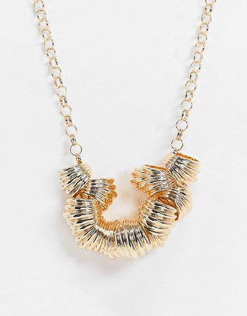 ASOS DESIGN necklace with ribbed pendants in gold tone | ASOS