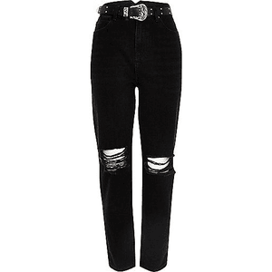 Black Jeans Belt Ripped PNG