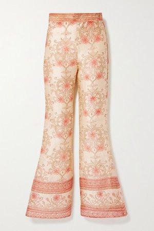 The Ahimsa Printed Silk-dupioni Flared Pants - Cream