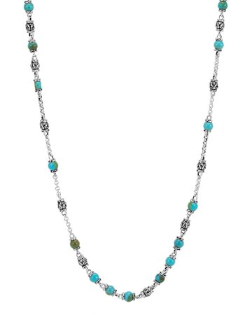 """John Hardy 16-18"""" Classic Chain Silver & Turquoise Bead Necklace"""