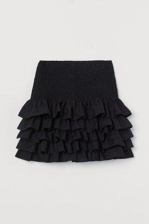 Ruffled Cotton Skirt - Black