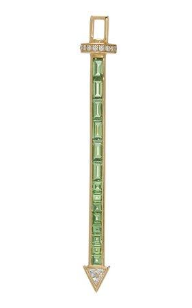 Robinson Pelham Large Sabre Hero 14K Gold Diamond and Tsavorite Charm