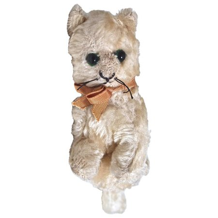 """MOHAIR CAT Sitting 9"""" White Mohair - Glass Eyes - Very Old : DejaVu a Deux 