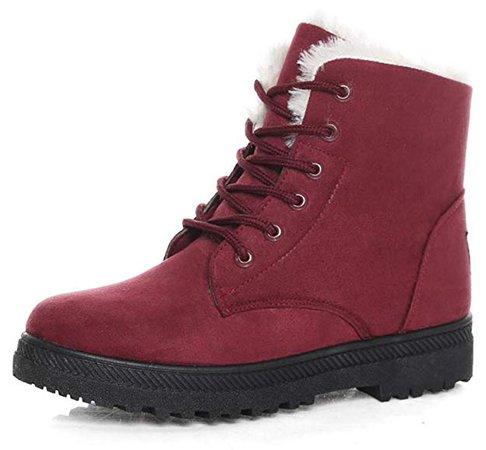 DADAWEN Women's Suede Waterproof Lace Up Winter High Top Snow Boots | Snow Boots