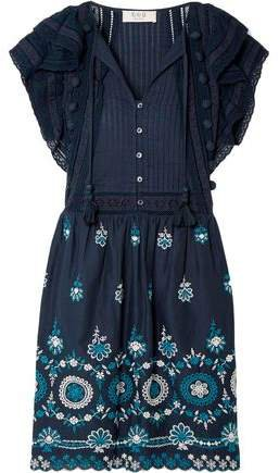 Sofie Pintucked Broderie Anglaise Cotton Mini Dress