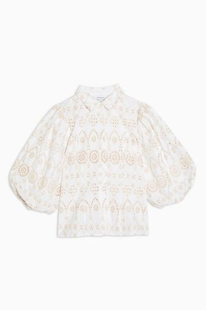 White Embroidered Shirt | Topshop