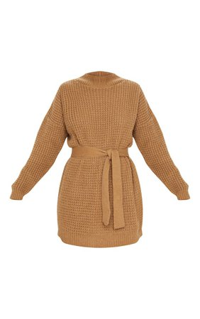 Camel Soft Touch Belted Knitted Jumper Dress   PrettyLittleThing USA