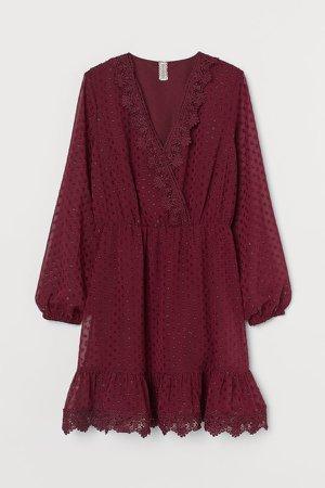 Lace-detail Plumeti Dress - Red