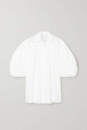 Cotton-blend Poplin Blouse - White
