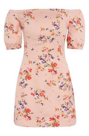 Leith Floral Off the Shoulder Minidress | Nordstrom