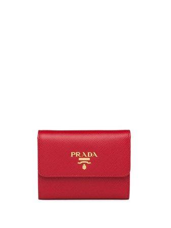 Prada logo-plaque square wallet red 1MH025QWA - Farfetch