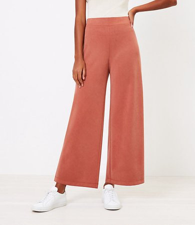 The Petite Pull On Wide Leg Crop Pant in Knit