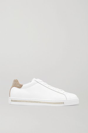 Crystal-embellished Suede And Leather Sneakers - White