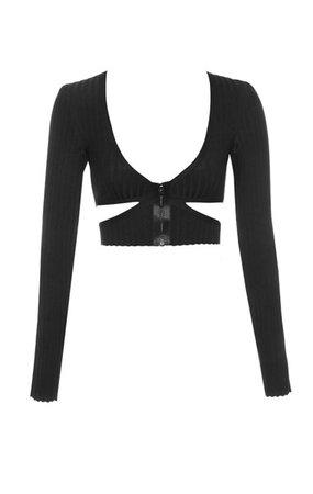 Clothing : Tops : 'Kitana' Black Ribbed Bandage Cut Out Cropped Top