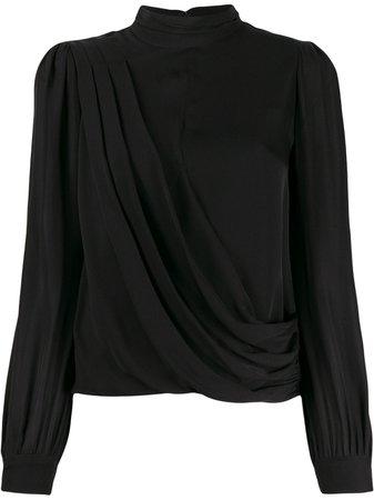 Michael Michael Kors asymmetric draped blouse black MH94LZ6B06 - Farfetch
