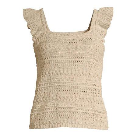 Scoop - Scoop Women's Crochet Flutter Sleeve Tank - Walmart.com - Walmart.com beige