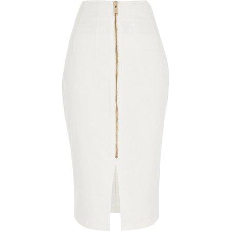 White high waist midi denim skirt   River Island