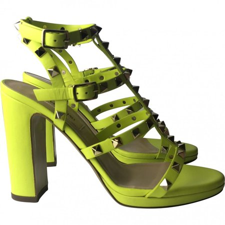 Rockstud Green Leather Sandals