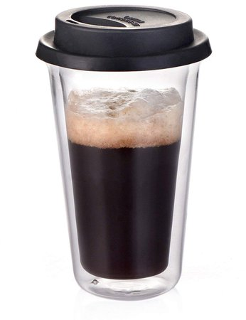 Glass Travel Coffee Mug with Lid - Double Wall Thermo Insulated Borosilicate Tumbler, For To Go Coffee Tea Hot Drinks Includes BPA-Free Silicon Travel Lid, 14 fl.oz