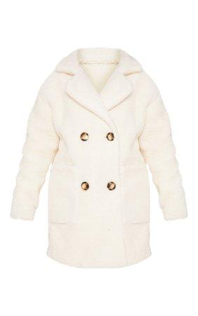 Cream Borg Midi Coat | Coats & Jackets | PrettyLittleThing