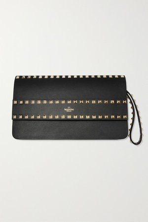 Garavani Rockstud Leather Clutch - Black
