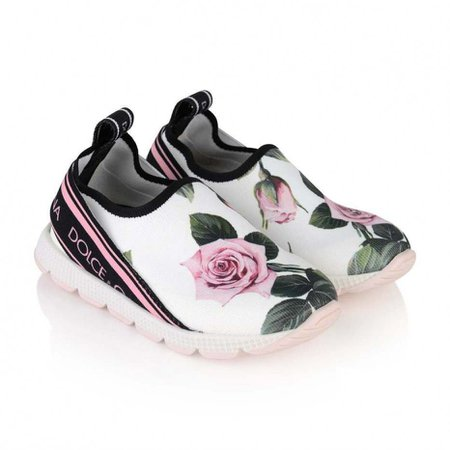 Dolce & Gabbana Girls Trainers - White & Pink Rose Trainers - Girl - New Arrivals