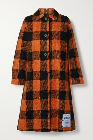 Checked Wool-blend Coat - Orange