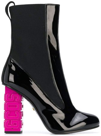 branded heel ankle boots