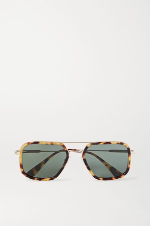 Tortoiseshell Aviator-style gold-tone and tortoiseshell acetate sunglasses | Prada | NET-A-PORTER
