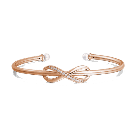 Infinity Love Open Cuff Bangle with Swarovski Pearl Rose Gold Plated Silver - Gifts